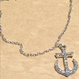 Jewelry - Silver Tone Crystal Beach Anchor Charm Anklet